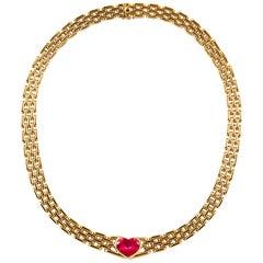 Bvlgari 18 Karat Yellow Gold Rubellite Necklace