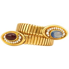 Bvlgari 18 Karat Yellow Gold Ruby Sapphire and Diamond Tubogas Wrap Bracelet
