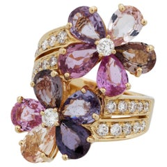 Bvlgari 18 Karat Yellow Gold Sapphire and Diamond Flower Ring