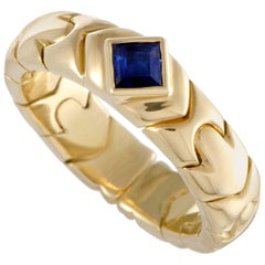 Bvlgari 18 Karat Yellow Gold Sapphire Solitaire Band Ring