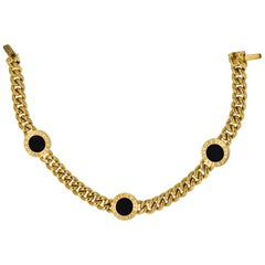 Bvlgari 18 Karat Yellow Gold Three Station Black Onyx Link Bracelet