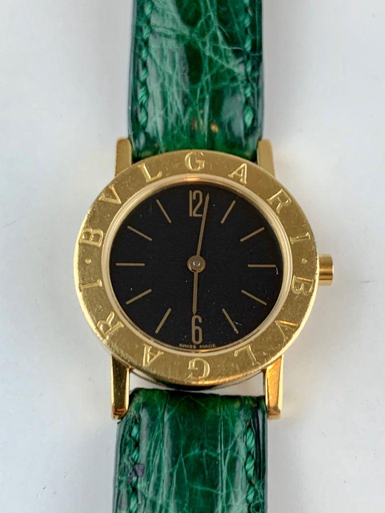 Bvlgari 18 Karat Gold BB 26 GL Watch For Sale 11