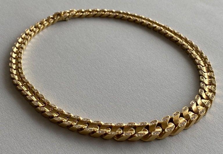 Mid-Century Modern Bvlgari 18-Karat Gold Necklace with Diamonds For Sale