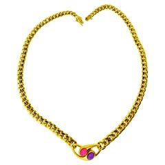 """Bvlgari 18k Gold """"Ying and Yang"""" Necklace with Fine Tourmaline and Amethyst"""