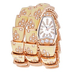 Bvlgari 18K Rose Gold Diamond Mother of Pearl Yellow Gold Serpenti Quartz Watch