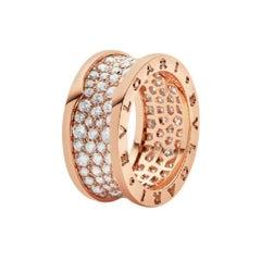 Bvlgari 18k Rose Gold Pave Diamond B.Zero1 Ring - Size 7