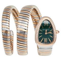 Bvlgari 18k Rose Gold Stainless Steel Diamonds Tubogas Women's Wristwatch 23mm