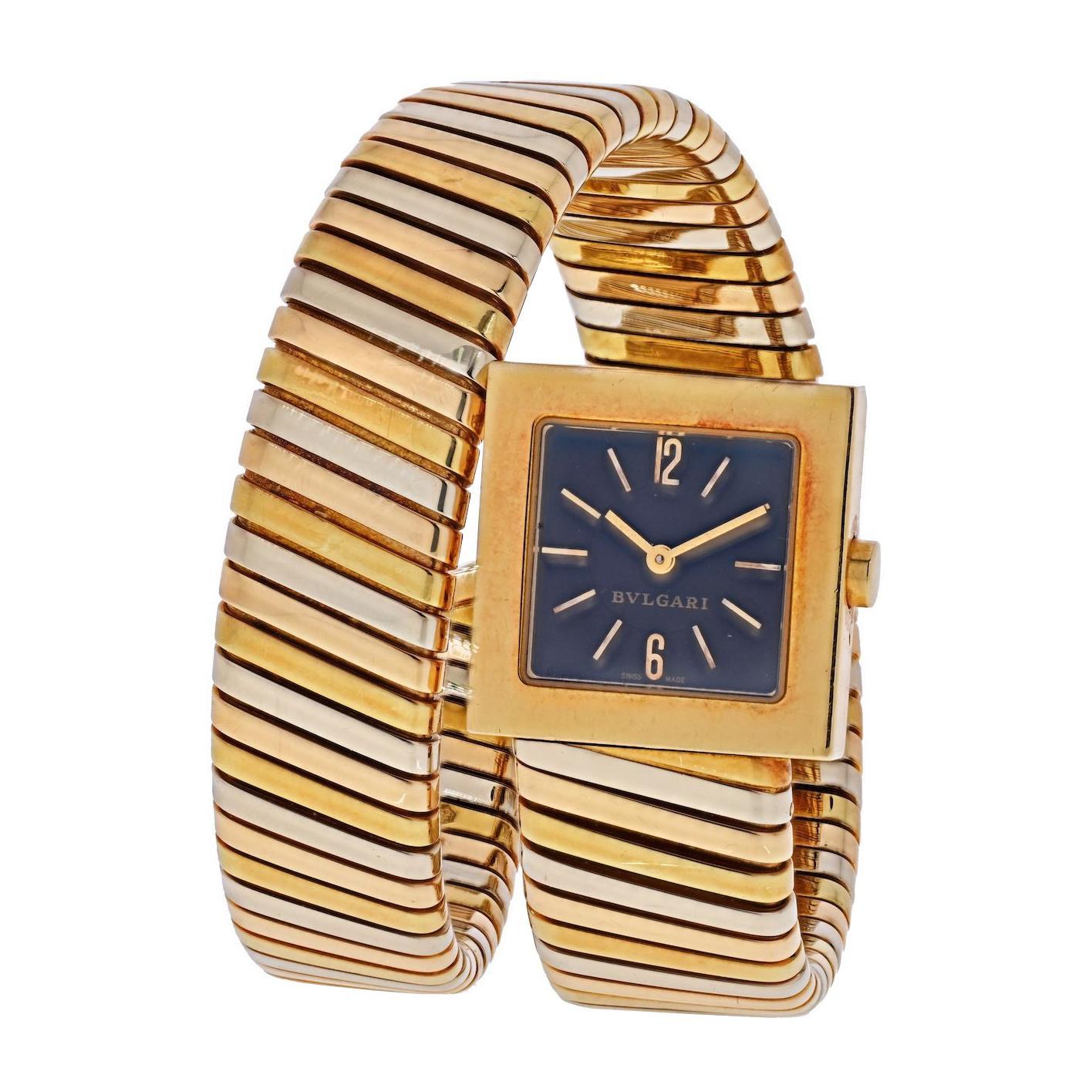 Bvlgari 18k Tri Color Quadrato SQ 22 1T Tubogas Tri Color Watch