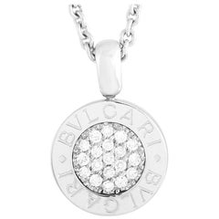 Bvlgari 18K White Gold 0.20 Ct Diamond Pendant Necklace