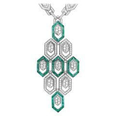 Bvlgari 18 Karat Gold 7.08 Carat Full Diamond Pave and Emerald Pendant Necklace