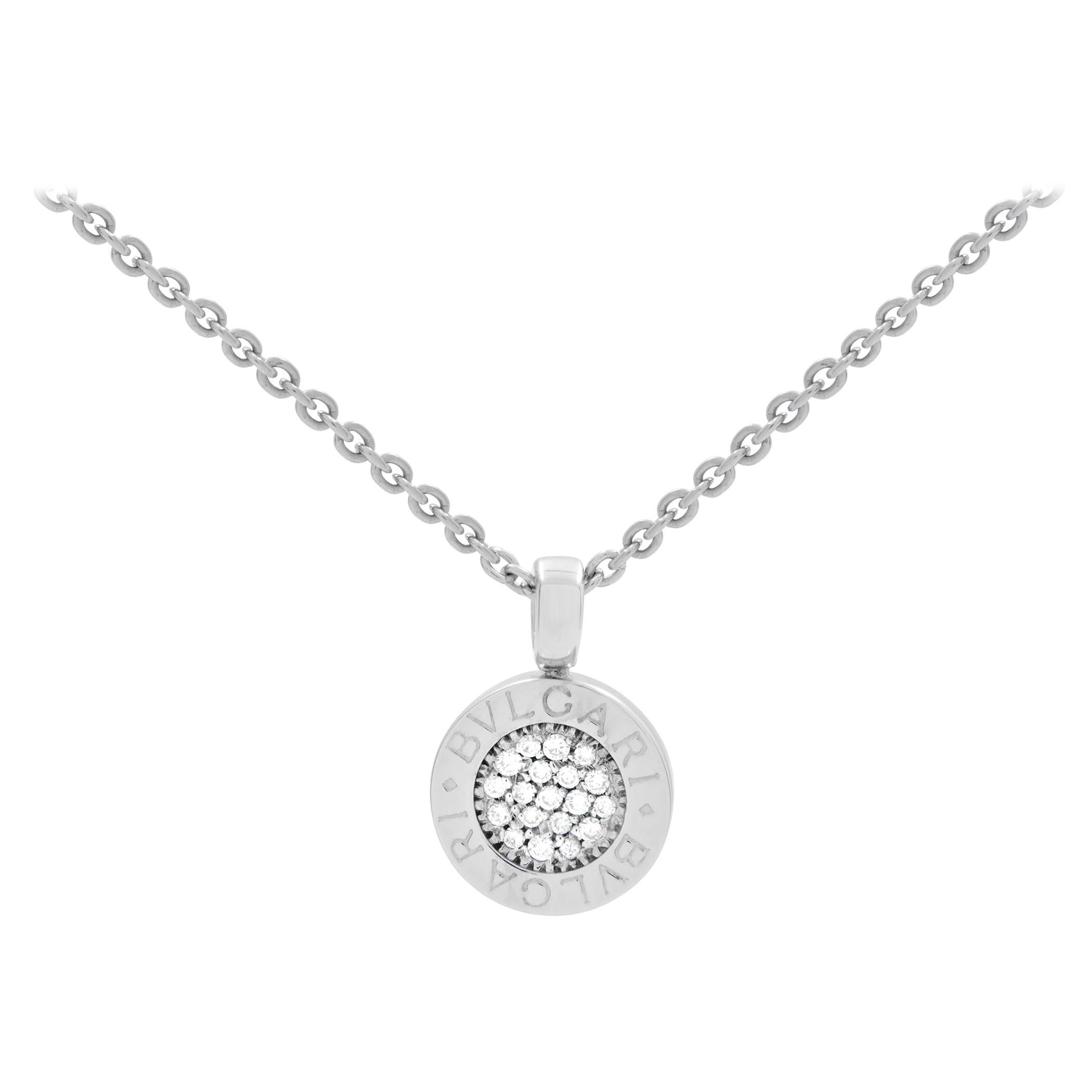 "Bvlgari 18k White Gold Pave Diamond ""Bvlgari-Bvlgari"" Pendant Necklace 0.20cttw"
