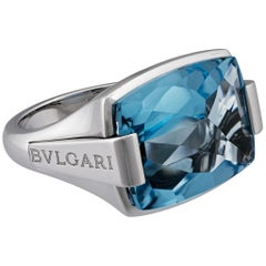 Bvlgari 18 Karat White Gold Pyramid Topaz Ring