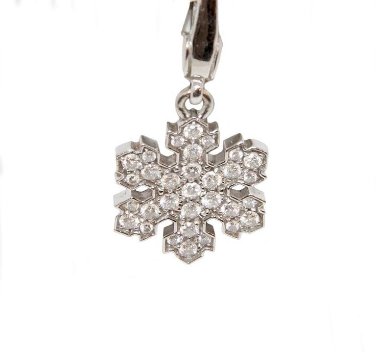 Bvlgari 18 Karat White Gold Snowflake Pendant Charm For Sale 1
