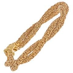 Bvlgari 18k Yellow Gold 1960 Woven Style Twisted Unisex Bracelet