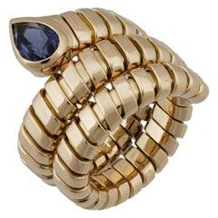 Bvlgari 18 Karat Yellow Gold Amethyst Tubogas Ring