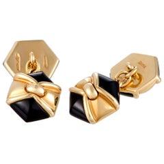 Bvlgari 18 Karat Yellow Gold and Onyx Hexagon Cufflinks