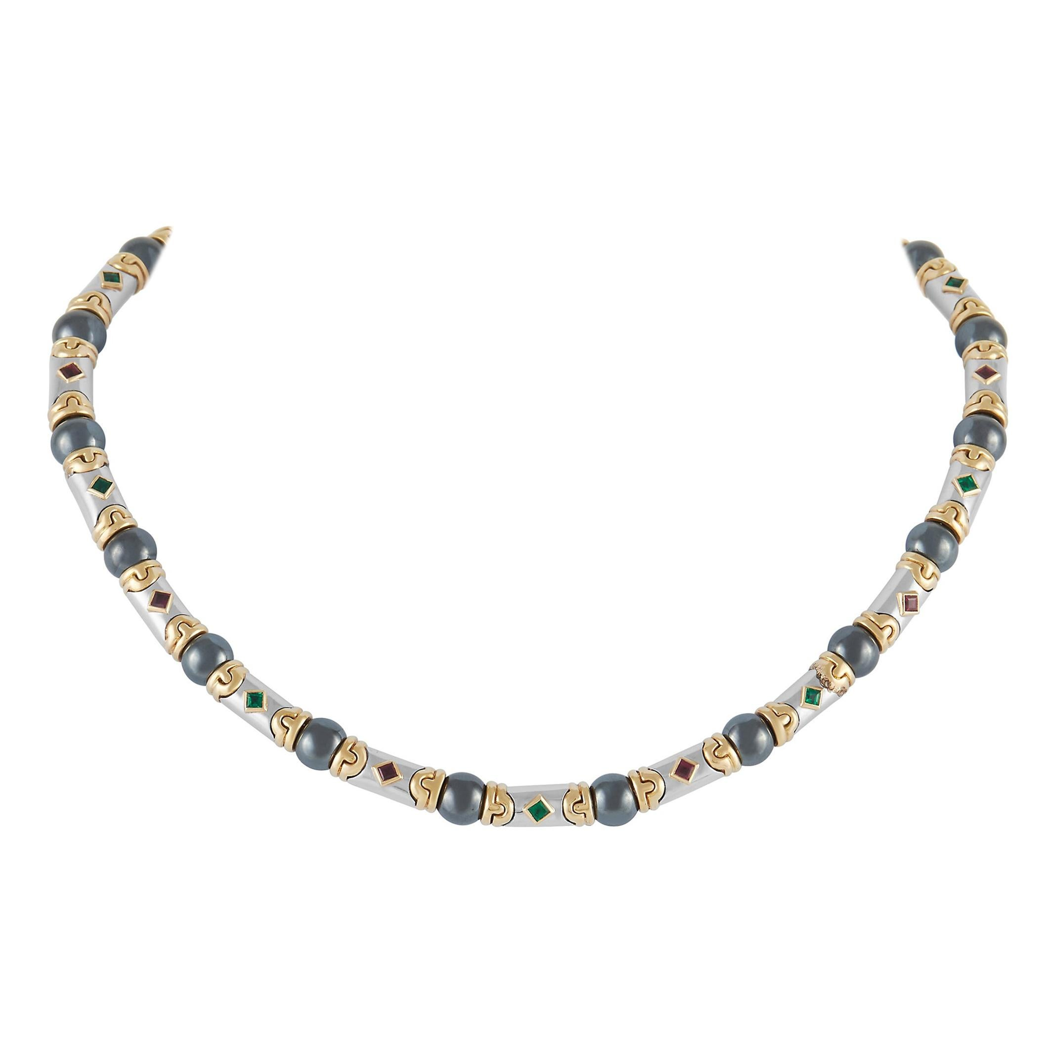 Bvlgari 18K Yellow Gold and White Gold Hematite, Ruby, and Emerald Necklace