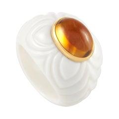 Bvlgari 18k Yellow Gold Ceramic and Citrine Ring