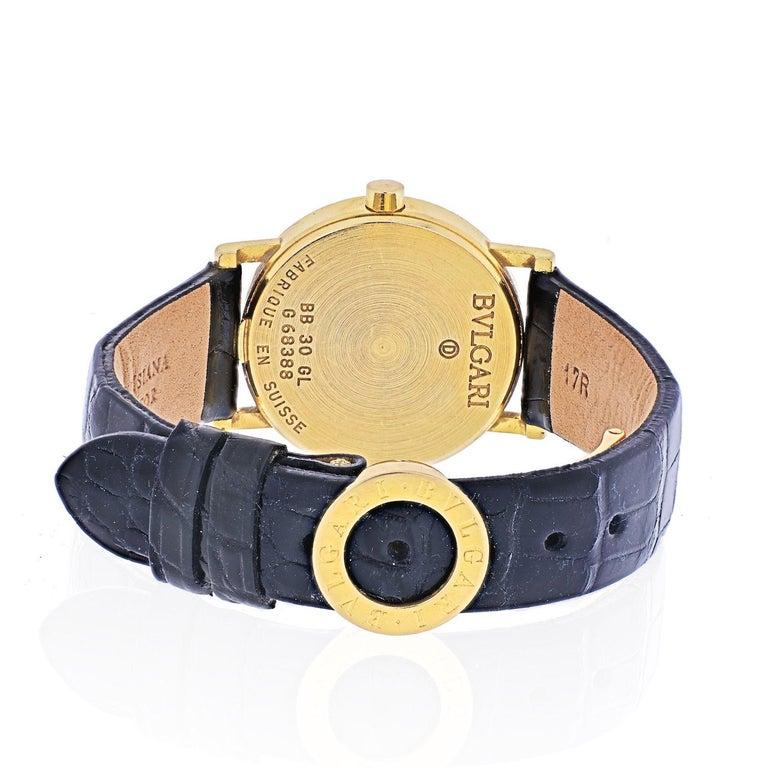 Modern Bvlgari 18k Yellow Gold Diagono Ladies BB 30 GL Watch For Sale