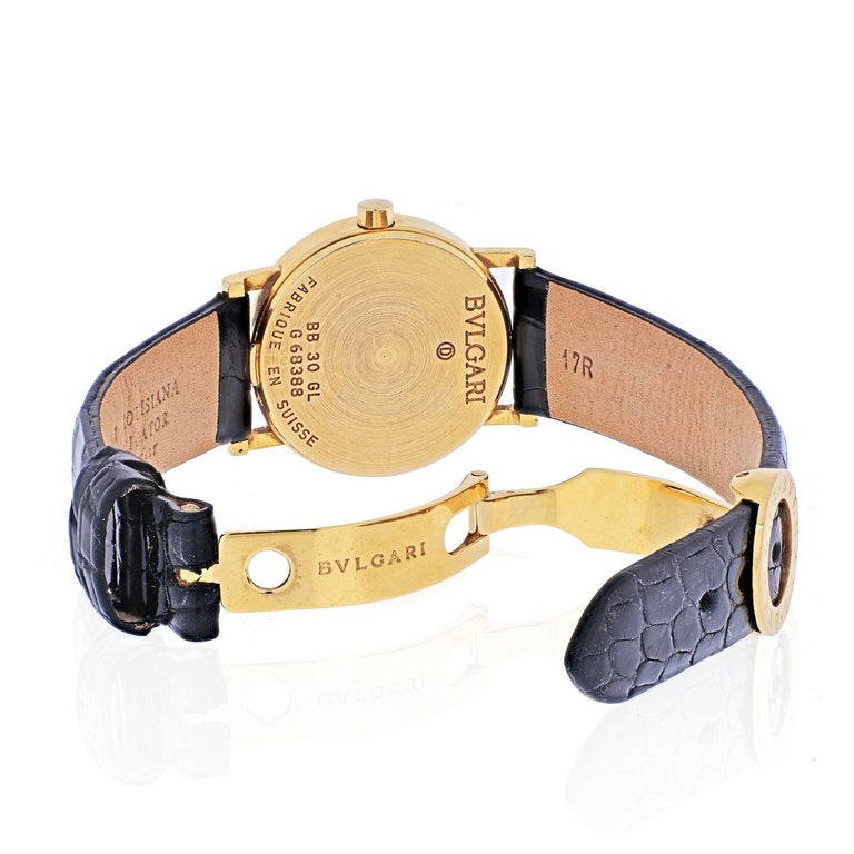 Bvlgari 18k Yellow Gold Diagono Ladies BB 30 GL Watch In Good Condition For Sale In New York, NY