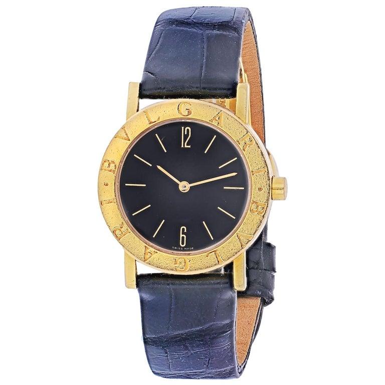Bvlgari 18k Yellow Gold Diagono Ladies BB 30 GL Watch For Sale
