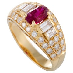 Bvlgari 18 Karat Yellow Gold Diamond and Ruby Band Ring