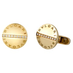 Bvlgari 18 Karat Yellow Gold Diamond Cufflinks