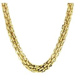 Bvlgari 18 Karat Yellow Gold Diamond Link Choker Necklace
