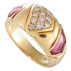 Bvlgari 18 Karat Yellow Gold Diamonds and Pink Tourmaline Band Ring