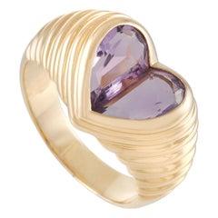 Bvlgari 18k Yellow Gold Doppio Amethyst Heart Ring