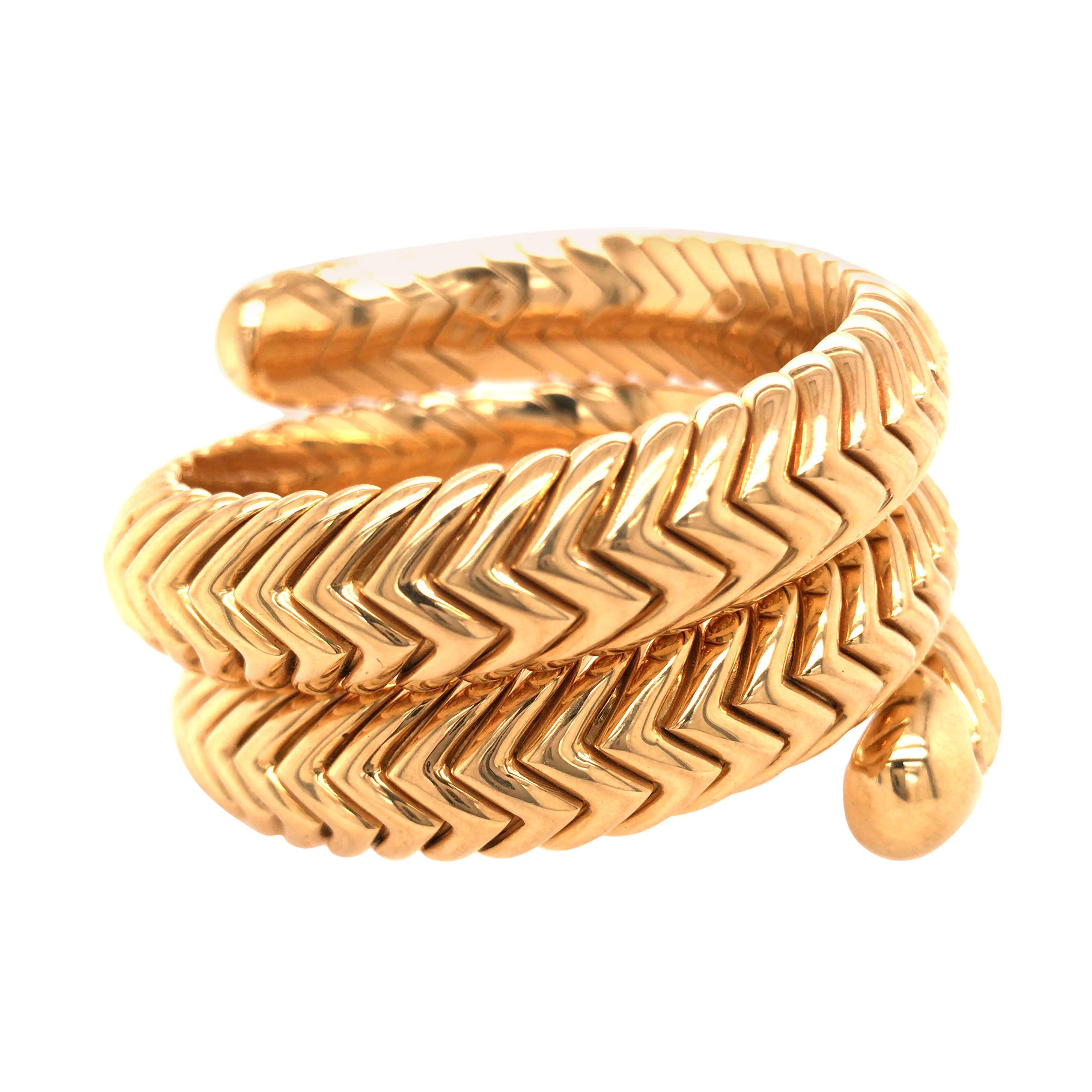 "BVLGARI 18K Yellow Gold ""Spiga"" Wrap Bracelet"