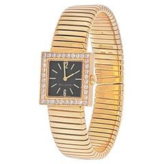 Bvlgari 18K Yellow Gold SQ 22 2T Quadrato Tubogas Diamond Bezel Watch