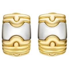 Bvlgari 18k Yellow Gold & Steel Parentesi Hoop Earrings