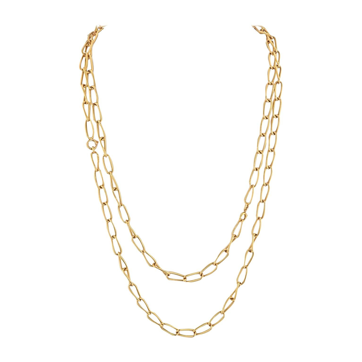 Bvlgari 18k Yellow Gold Vintage 1970's Long Link Chain Necklace