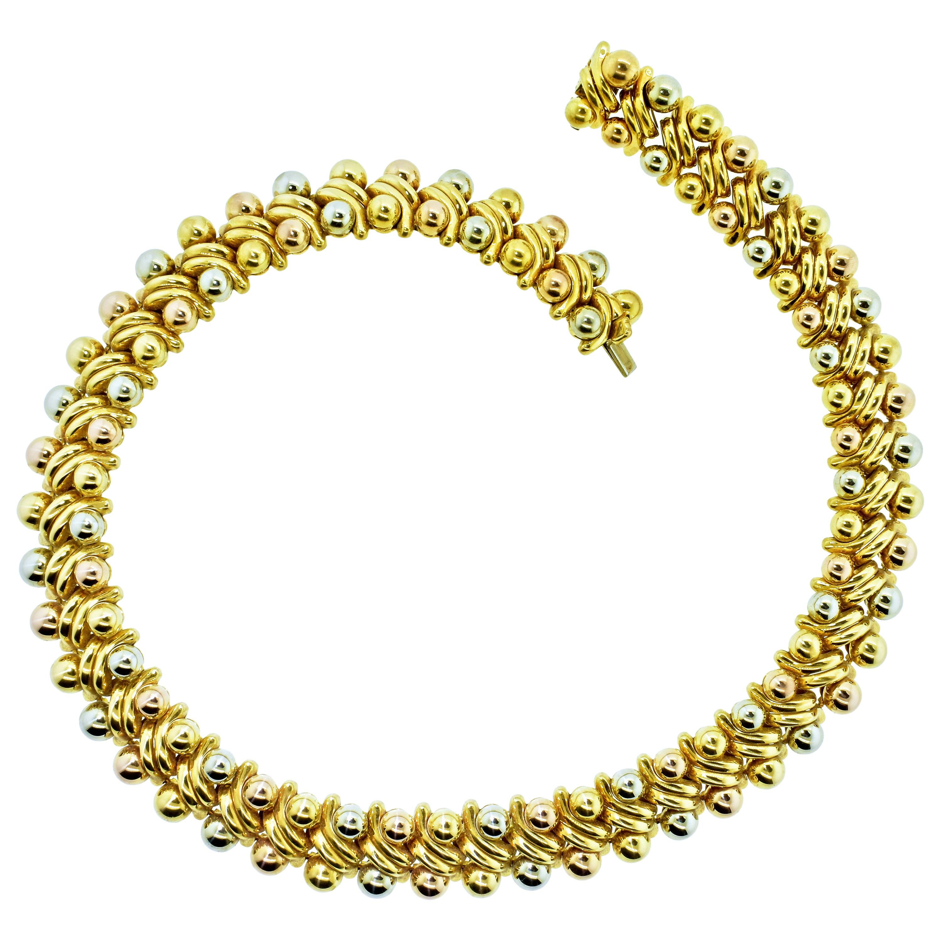 Bvlgari 18K Yellow, Pink and White Gold Vintage Necklace