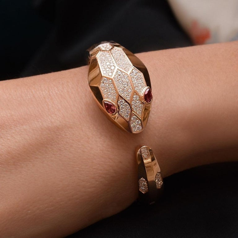 Contemporary Bvlgari 18 Karat Rose Gold Diamond Serpenti Misteriosi Secret Bracelet Watch For Sale