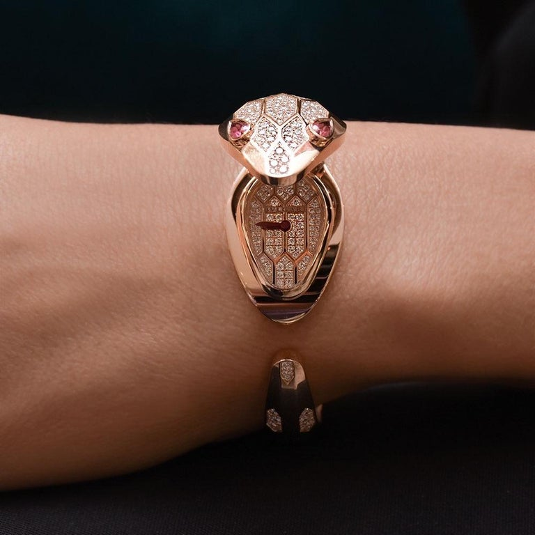Round Cut Bvlgari 18 Karat Rose Gold Diamond Serpenti Misteriosi Secret Bracelet Watch For Sale