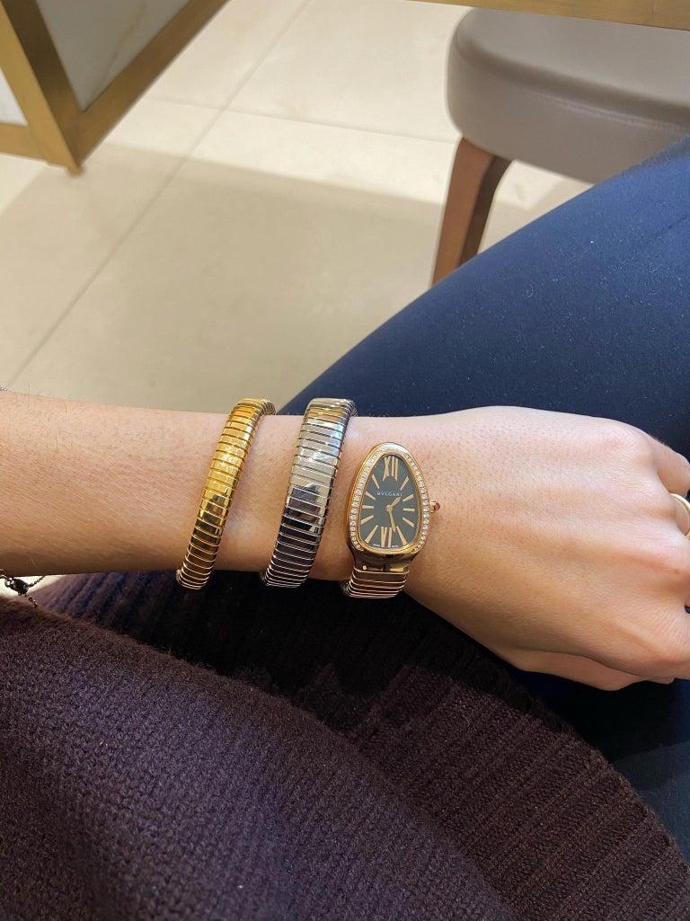 Contemporary Bvlgari 18 Karat Tri-Color Gold Serpenti Tubogas Diamond Bracelet Watch For Sale