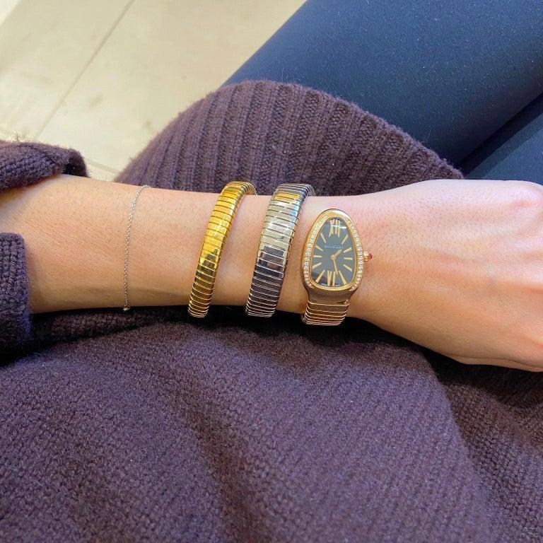 Round Cut Bvlgari 18 Karat Tri-Color Gold Serpenti Tubogas Diamond Bracelet Watch For Sale