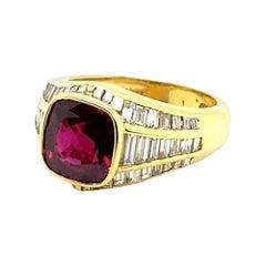 Bvlgari 4 Carat Ruby Ring with 2.20 Carats of Diamonds
