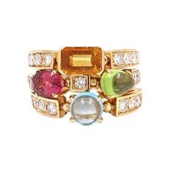 Bvlgari Allegra Yellow Gold Multi Stone Diamond Three Band Ring