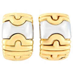 Bvlgari Alveare 18 Karat Yellow Gold and Stainless Steel Earrings