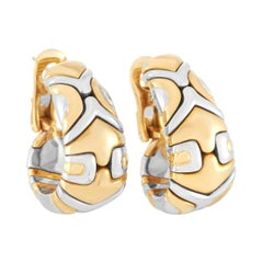 Bvlgari Alveare 18k Yellow and White Gold Hoop Earrings