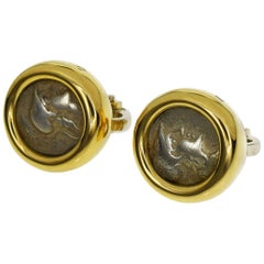 Bvlgari Ancient Coin 18 Karat Yellow Gold Monete Studs Earring