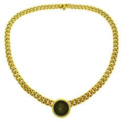 Bvlgari Ancient Coin Yellow Gold Chain Necklace Bulgari Monete