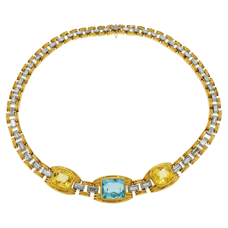 Bvlgari Aquamarine, Yellow Sapphire and Diamond Yellow Gold Necklace