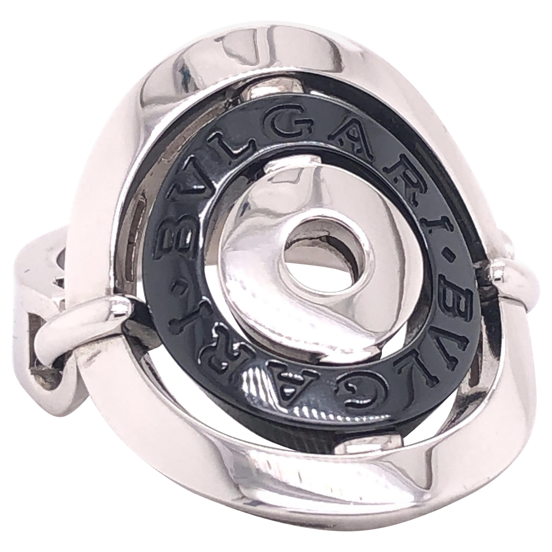Bvlgari Astral Cerchi 18 Karat White Gold Steel Flex Oval Ring