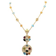 Bvlgari 'Astrale' Yellow Gold Diamond and Gemstone Pendant Necklace
