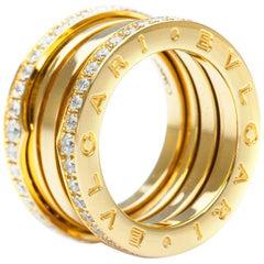 Bvlgari B. Zero 1 Four Band Yellow Gold, Set with Pavé Diamonds Ring