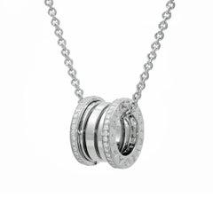 Bvlgari B. Zero 1 Necklace in 18 Karat White Gold, Diamond Paved